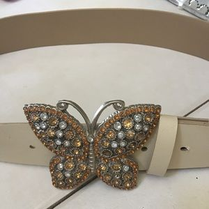 Accessories - Crystal butterfly ivory belt